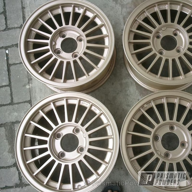 Powder Coating: Wheels,Custom,Bismark Gold PMB-2015,powder coating,powder coated,Prismatic Powders,Gold
