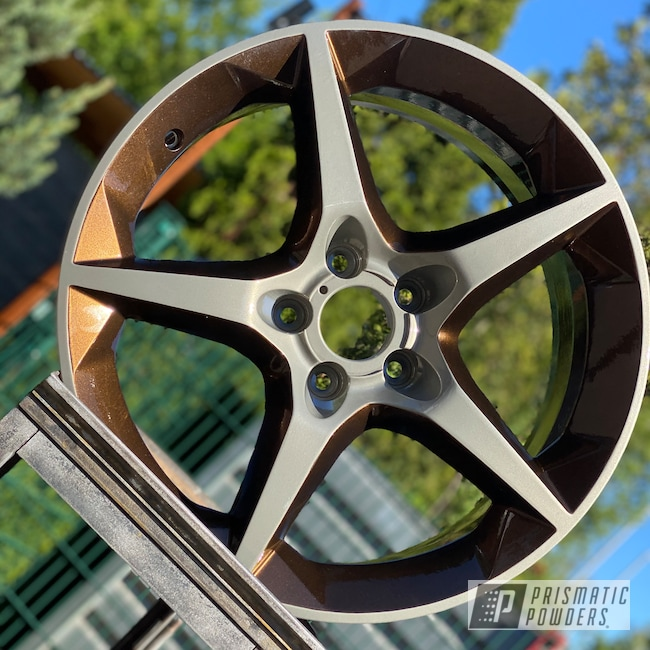"Powder Coating: Wheels,Automotive,Clear Vision PPS-2974,GM SILVER UMB-1672,Two Tone Wheels,Two Coat Application,Super Rootbeer PMB-6335,Two Tone,18"" Aluminum Wheels,Opel"