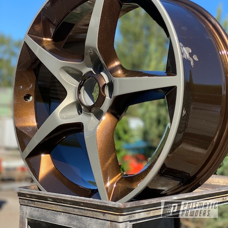 """Powder Coating: Wheels,Automotive,Clear Vision PPS-2974,GM SILVER UMB-1672,Two Tone Wheels,Two Coat Application,Super Rootbeer PMB-6335,Two Tone,18"""" Aluminum Wheels,Opel"""
