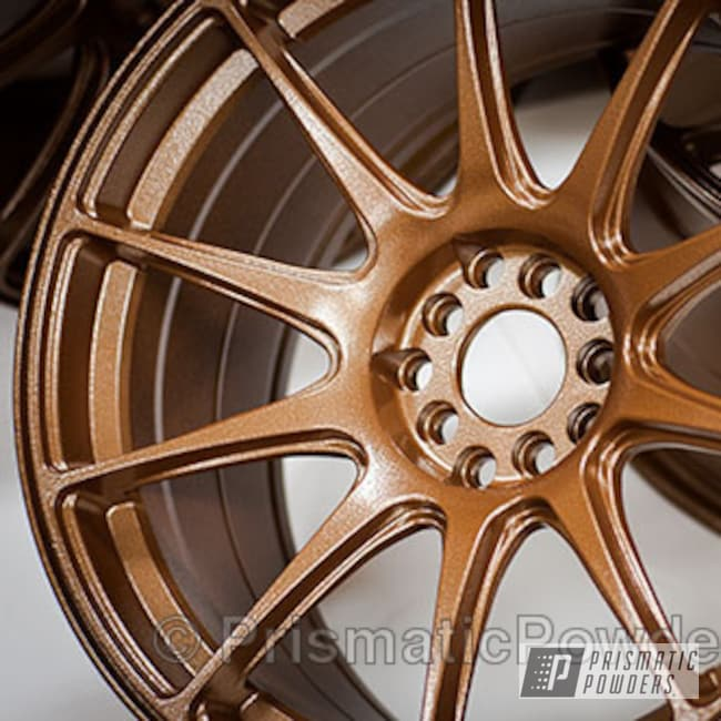Powder Coating: Wheels,Custom,US Bronze Leather PLB-2097,Bronze,powder coating,powder coated,Prismatic Powders