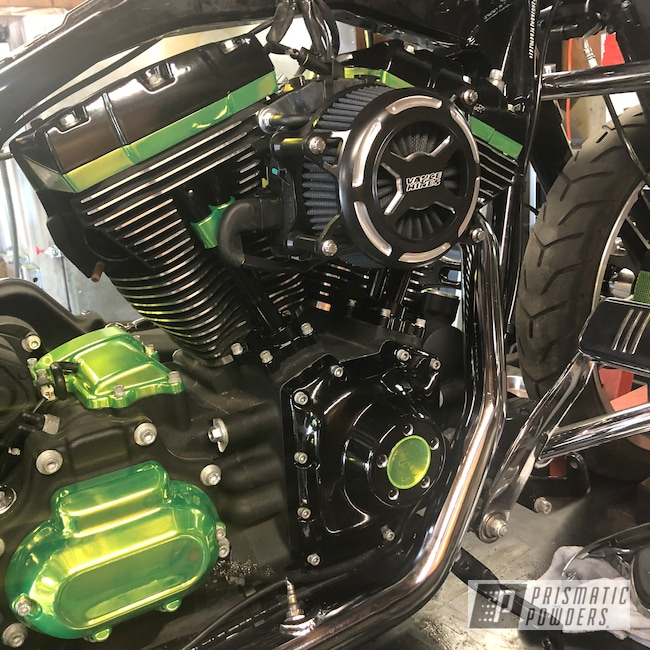 Powder Coating: Automotive,Harley Davidson,Ink Black PSS-0106,Street Glide,Custom Motorcycle,Motorcycles,Shocker Yellow PPS-4765
