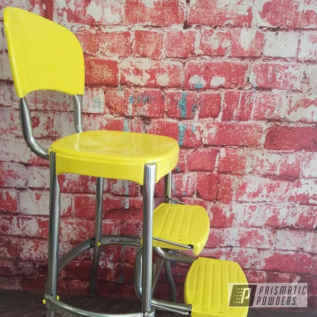 Powder Coating: Vintage Chairs,Clear Vision PPS-2974,Cosco Step Stool,Retro,RAL 1016 Sulfur Yellow,High Chair,Step Stool