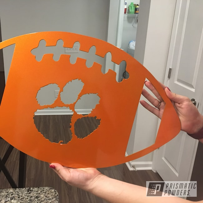 Powder Coating: Clear Vision PPS-2974,Football,Clemson,wall art,Illusion Orange PMS-4620,Metal Sign