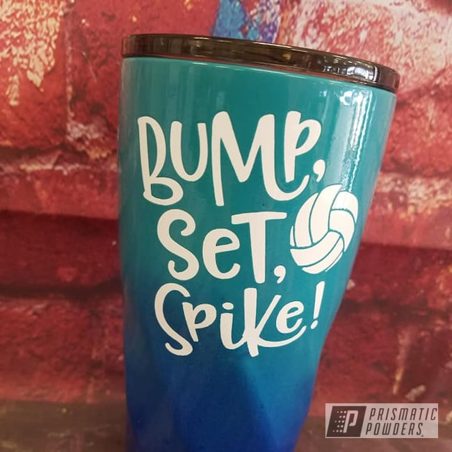 Powder Coating: Stainless Steel Cups,Volleyball,Drinkware,HOGG,3 Color Application,MANHATTAN BLUE UMB-1930,Gloss White PSS-5690,Indian Turquoise PSS-2791,20oz Tumbler,Custom Tumbler Cup