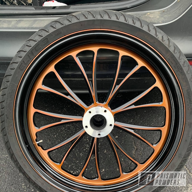 Powder Coating: Wheels,Automotive,Transparent Copper PPS-5162,GLOSS BLACK USS-2603,Motorcycle Wheels,Motorcycles