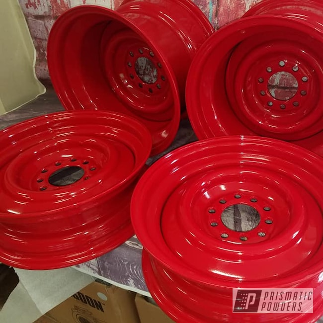 "Powder Coating: Wheels,Automotive,15"" Steel Wheels,Steel Wheels,RAL 3002 Carmine Red"