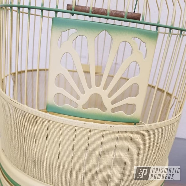 Powder Coating: Custom Design,2 Color Application,Bird Cage,Vintage,Casper Clear PPS-4005,Silk Satin Black HSS-1336,Vintage Bird Cage,RAL 1002 Sand Yellow