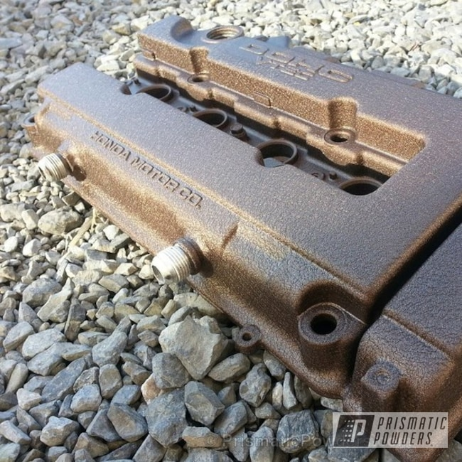Powder Coating: Splatter Rockwell Bronze PWB-2883,Custom,Automotive,Honda Valve Cover,powder coating,powder coated,Prismatic Powders,bronze,Valve Cover