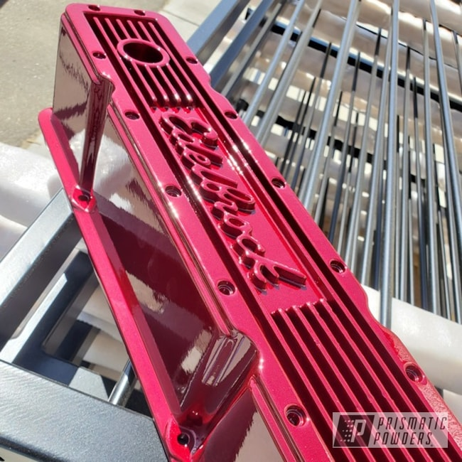 Powder Coating: Automotive,Edelbrock,Clear Vision PPS-2974,Illusion Cherry PMB-6905,Valve Cover