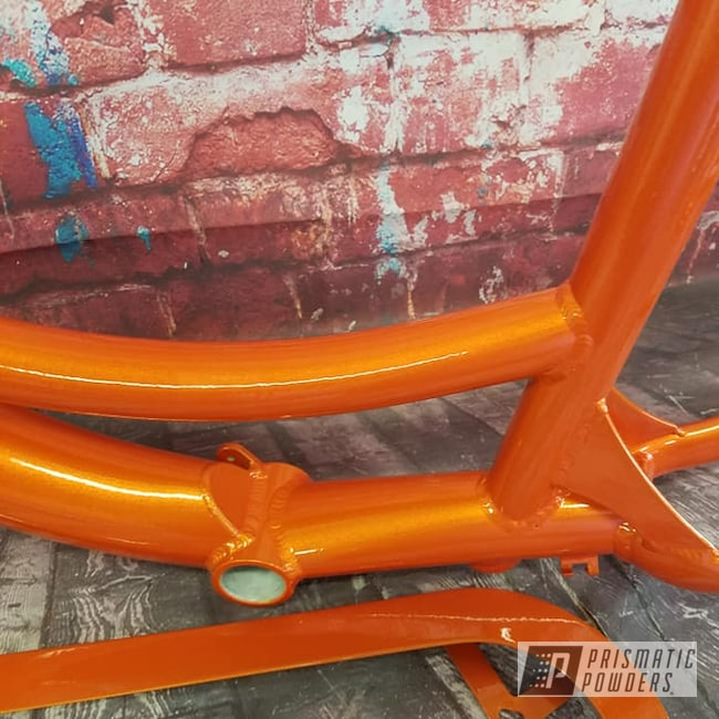 Powder Coating: Bicycles,Clear Vision PPS-2974,Motorized Bicycle,Schwinn Bike,Electric Trike,RAL 1018 Zinc Yellow,Illusions,Bicycle Frame,Illusion Orange PMS-4620