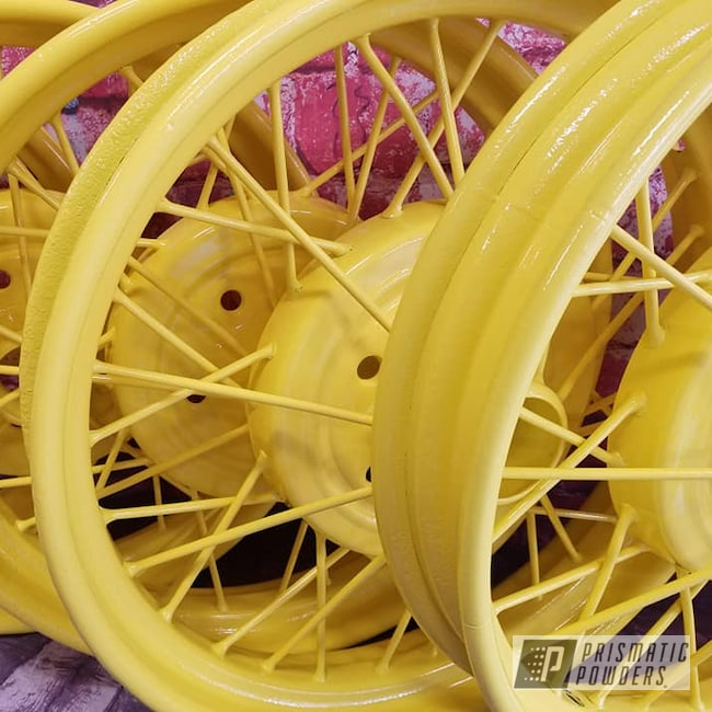 Powder Coating: Automotive,Spoked Wheels,Vintage Wheels,RAL 1018 Zinc Yellow,Model A Rims,Steel Rims