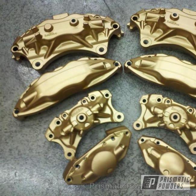 Powder Coating: Custom,Automotive,powder coating,powder coated,Prismatic Powders,EVO 8 Brembos,gold,Tomic Gold II EMB-4448