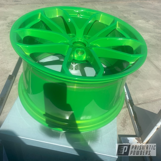 """Powder Coating: Wheels,BMW Silver PMB-6525,Automotive,Illusion Lime Time PMB-6918,Clear Vision PPS-2974,2 Stage Application,Porsche,powder coated,20"""",20"""" Aluminum Wheels"""