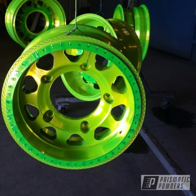 Powder Coating: Wheels,Automotive,2 Color Application,Sand,Shocker Yellow PPS-4765
