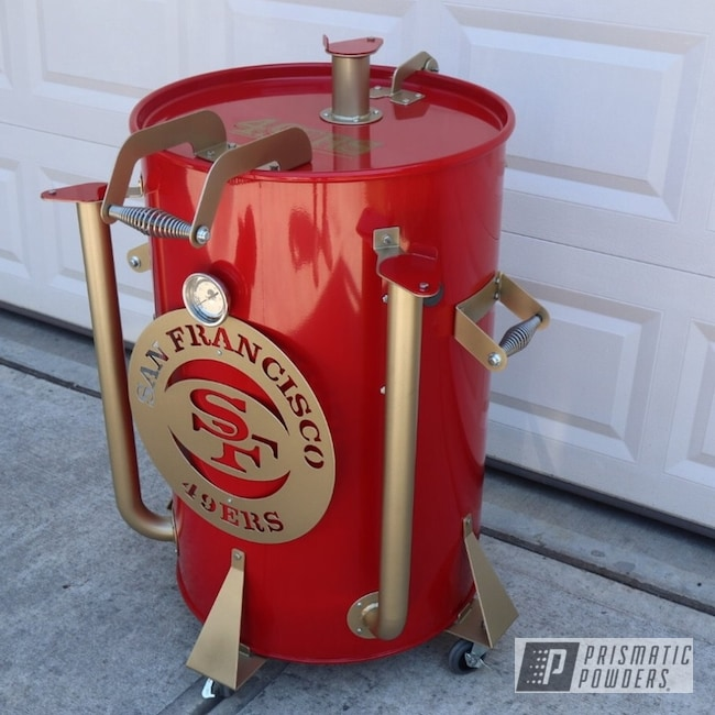 Powder Coating: RAL 3002 Carmine Red,ROMAN GOLD UMB-1638,Smoker Grill