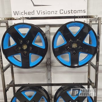 Powder Coated Two Tone Finish On A Set Of Stock Wrangler Wheels