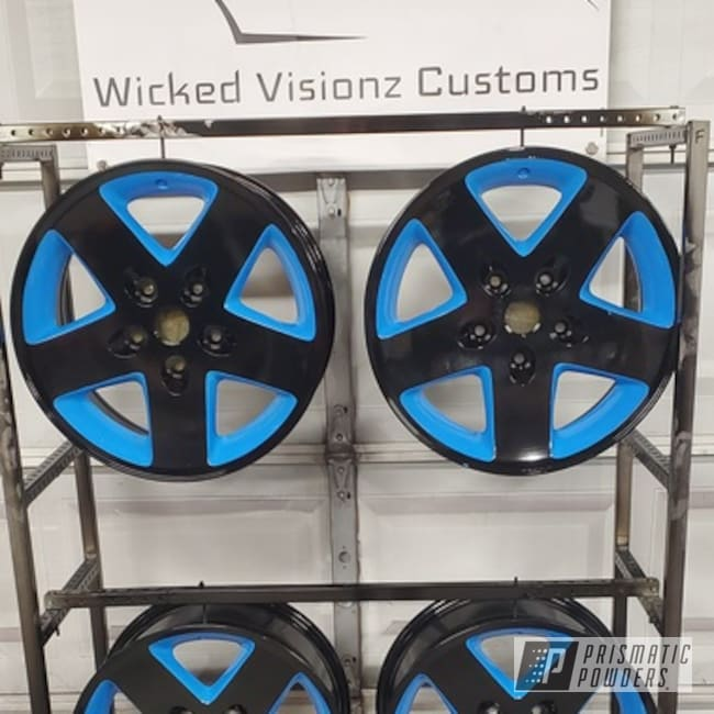 "Powder Coating: Wheels,Automotive,17,GLOSS BLACK USS-2603,17"" Wheels,Playboy Blue PSS-1715,Jeep,Wrangler"
