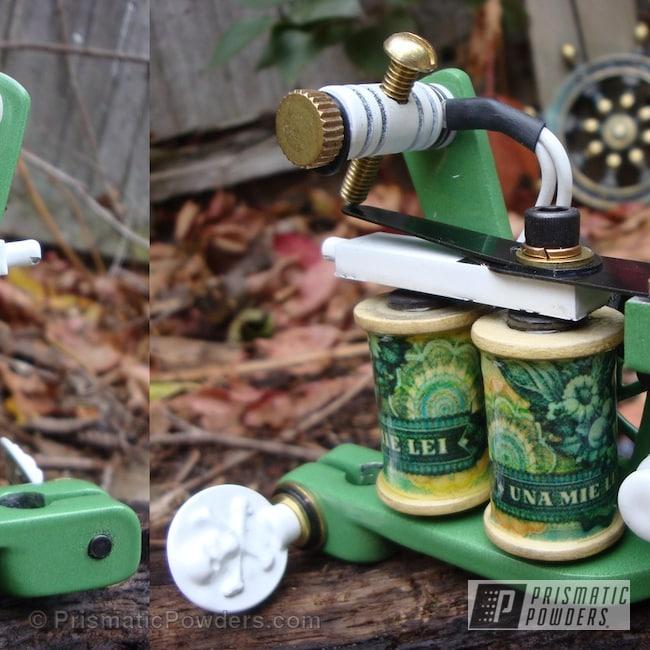 Powder Coating: Custom,White,Green,powder coating,Shipwreck Irons Handmade Tattoo Machine,powder coated,Prismatic Powders,Cloud White PSS-0408,Frog Green PSS-4486,Miscellaneous