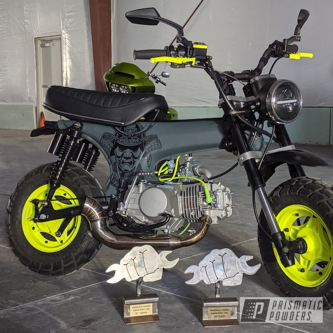 "Powder Coating: 1977,Jungle Grey PSS-5933,Automotive,10"",BLACK JACK USS-1522,Motorcycle Rims,Chartreuse Sherbert PSS-7068,Powder Coated Frame,Honda Motorcycle,Motorcycles,Casper Clear PPS-4005,Honda CT70"