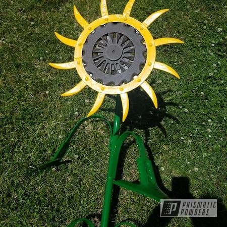 Powder Coating: RUSTIC TEXTURE UTB-5223,Yard Art,RAL 6005 Moss Green,3 Color Application,Custom 3 Color,Sunflower,RAL 1003 Signal Yellow