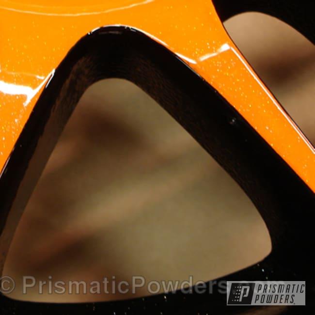 Powder Coating: Orange Soda PMB-1585,Wheels,Custom,2 Tone,Black,Ink Black PSS-0106,BIGGS SILVER UPB-6018,powder coating,powder coated,Prismatic Powders,Custom 2 Coats,Orange