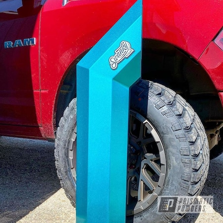 Powder Coating: Automotive,Heavy Silver PMS-0517,Exhaust,Cortez Teal PPS-4477