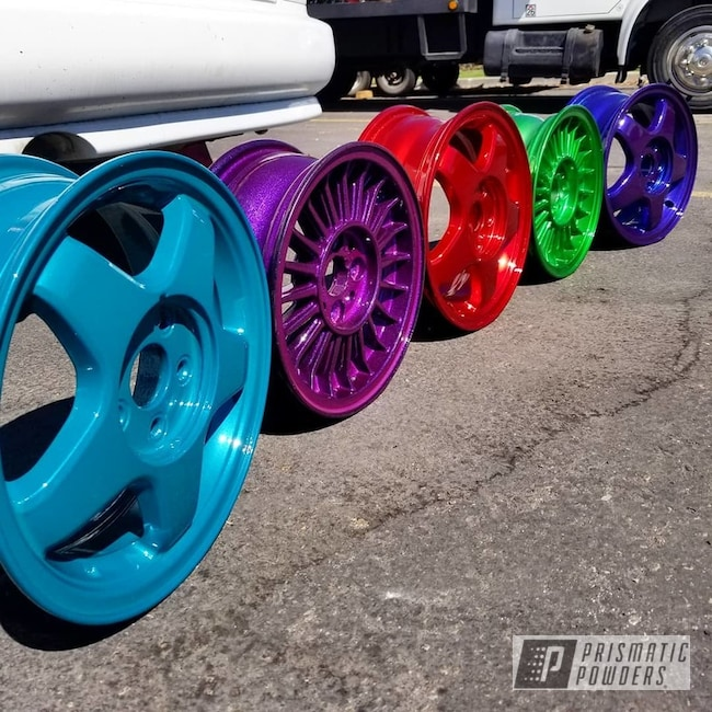 Powder Coating: Wheels,Automotive,Disco Red PPB-7044,LOLLYPOP RED UPS-1506,Psycho Lime PPB-2448,Automotive Rims,Dunbar Teal PSS-0950