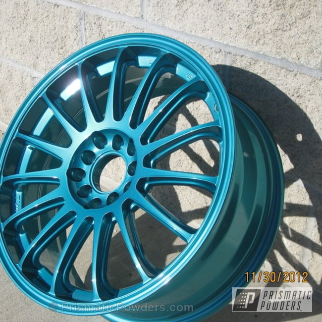 Powder Coating: Wheels,Custom,JAMAICAN TEAL UPB-2043,SUPER CHROME USS-4482,chrome,teal,powder coating,powder coated,Prismatic Powders