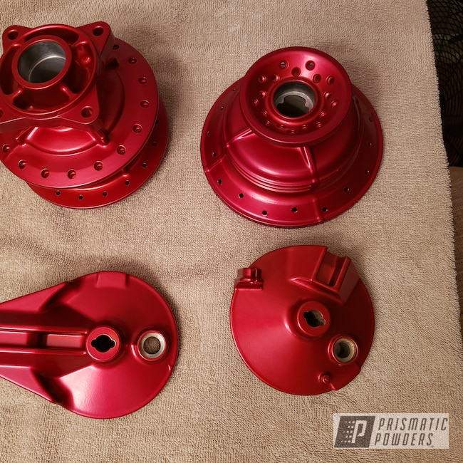 Powder Coating: Wheels,Automotive,POLISHED ALUMINUM HSS-2345,Anodized,Red,Anodized Red PPB-5936,Motorcycles,Dirtbike,Hubs