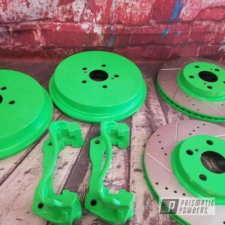 Powder Coating: Automotive,Calipers,Automotive Brake Parts,Brake Rotors,Neon Green PSS-1221,Brake Drums