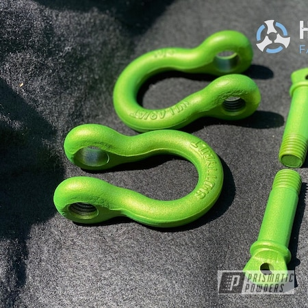 Powder Coating: Automotive,Illusion Sour Apple PMB-6913,Shackles,Casper Clear PPS-4005,Automotive Parts