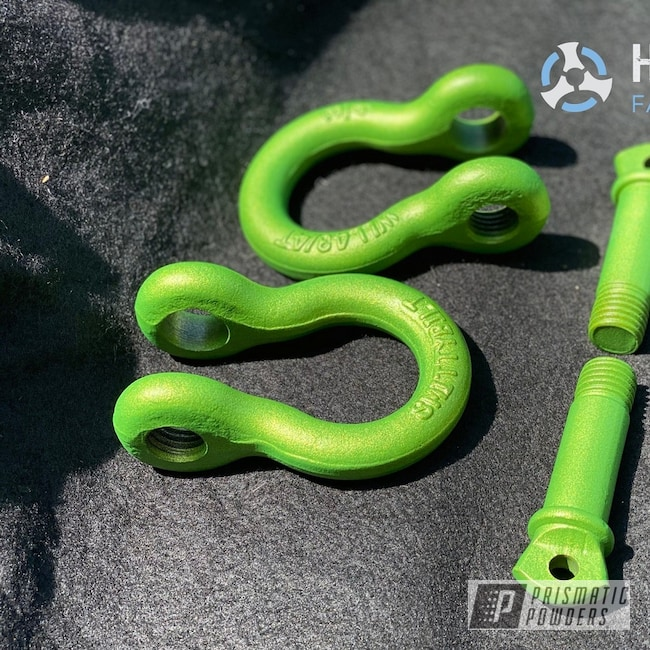 Powder Coating: Automotive,Illusion Sour Apple PMB-6913,Shackles,Casper Clear PPS-4005,Automotive Parts