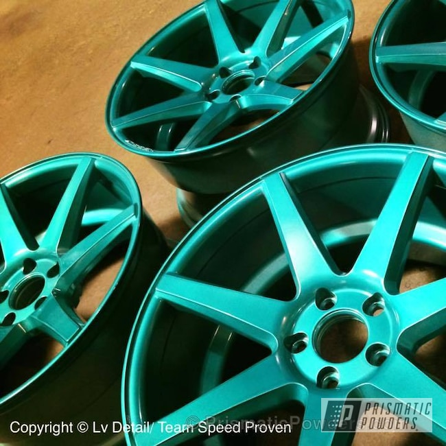 "Powder Coating: Wheels,19"" Wheels,Automotive,Clear Vision PPS-2974,Custom Wheels,HD TEAL UPB-1848,Clear Top Coat"