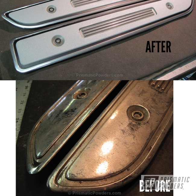 Powder Coating: Automotive,Clear Vision PPS-2974,SUPER CHROME USS-4482,chrome,Ultra Silver Texture PTB-4883,Plymouth Barracuda hood inserts,Textured