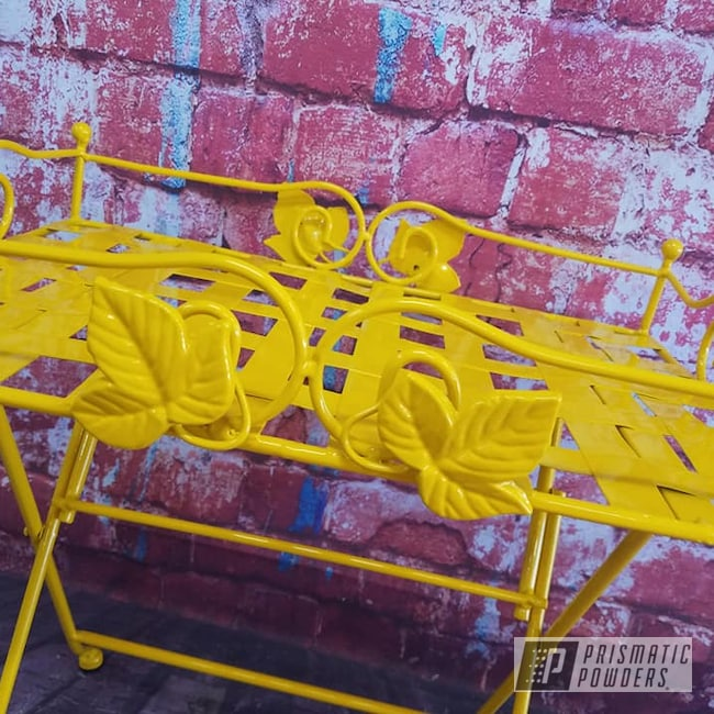 Powder Coating: Patio Furniture,Table,Serving Cart,Outdoor Furniture,RAL 1003 Signal Yellow