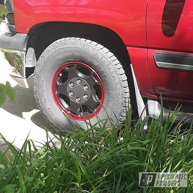 "Powder Coating: Wheels,Automotive,Clear Vision PPS-2974,2 Color Application,BLACK JACK USS-1522,17"" Aluminum Rims,17"" Wheels,Illusion Cherry PMB-6905,Illusions,Chevy,Aluminum Wheels"