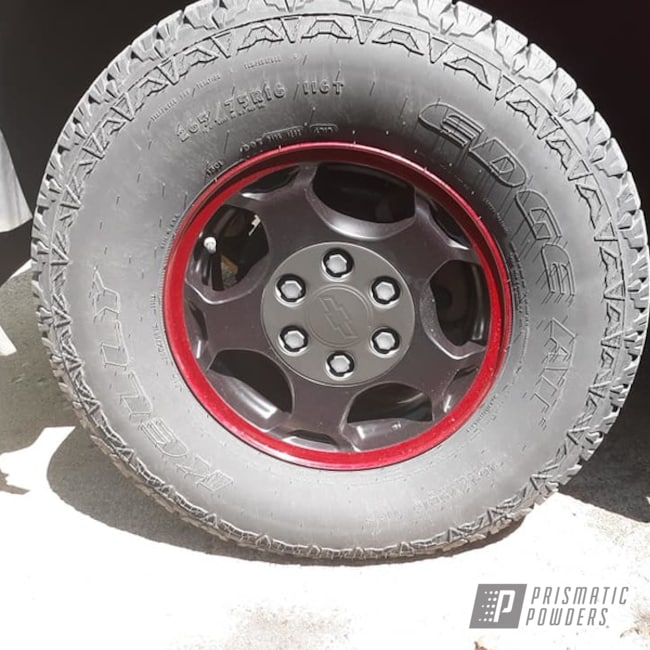 "Powder Coating: Wheels,Automotive,Clear Vision PPS-2974,2 Color Application,BLACK JACK USS-1522,17"" Aluminum Rims,17"" Wheels,Illusion Cherry PMB-6905,Illusions,Chevy,Aluminum Wheels"