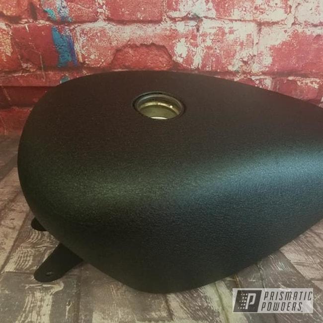 Powder Coating: Splatter Black PWS-4344,Automotive,Harley Davidson,Motorcycle Parts,Motorcycle Tank,Motorcycles