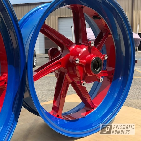 Powder Coating: Wheels,Automotive,Clear Vision PPS-2974,Really Red PSS-4416,BMW,Bike Parts,Motorcycle Wheels,Motorcycles,BMW S1000R,Blue Gill PMB-2956