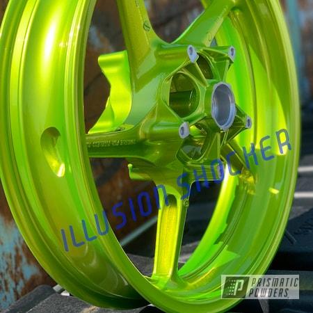 Powder Coating: Wheels,Automotive,Clear Vision PPS-2974,2 Color Application,Yamaha,R1,Motorcycles,Illusion Shocker PMB-10050