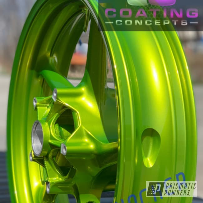 Powder Coating: Wheels,Automotive,Clear Vision PPS-2974,2 Color Application,Yamaha,R1,Motorcycles,Illusion Shocker PMB-10050