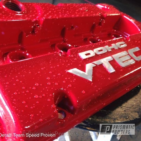 Powder Coating: Automotive,Clear Vision PPS-2974,H22 VC,Engine Components,Honda Engine Cover,Clear Top Coat,Astatic Red PSS-1738,DOHC VTEC