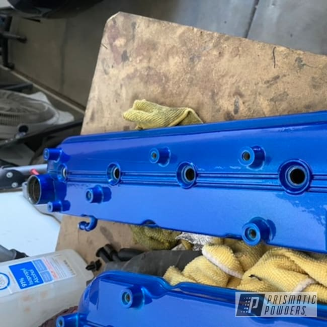 Powder Coating: Automotive,Clear Vision PPS-2974,2 Color Application,Valve Covers,Brake Calipers,Car Parts,Illusion Smurf PMB-6909