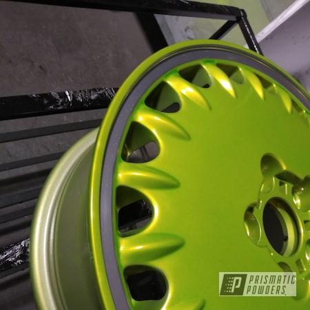 Powder Coating: Wheels,Automotive,POLISHED ALUMINUM HSS-2345,Psycho Lime PPB-2448,Car Parts,Automotive Wheels,Aluminum Wheels