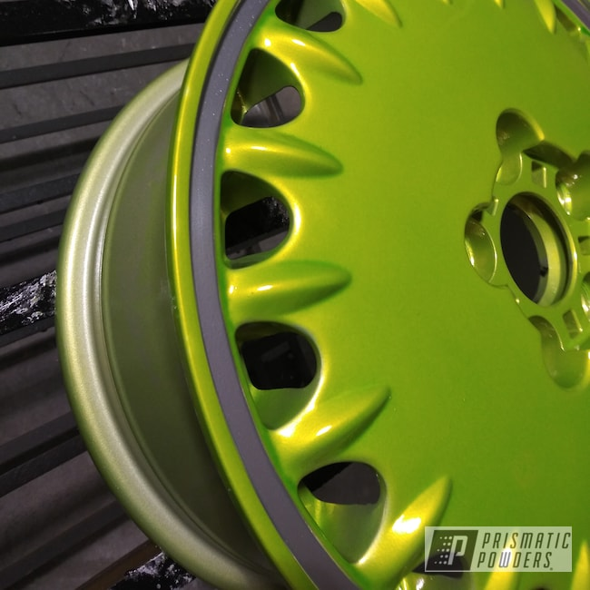 Powder Coating: Wheels,Automotive,POLISHED ALUMINUM HSS-2345,Psycho Lime PPB-2448,Car Parts,Automotive Wheels,Aluminum Wheels
