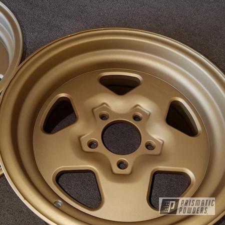"""Powder Coating: Wheels,Automotive,16"""" Aluminum Rims,Automotive Rims,Casper Clear PPS-4005,MINERS GOLD UMB-0888,Aluminum Wheels"""