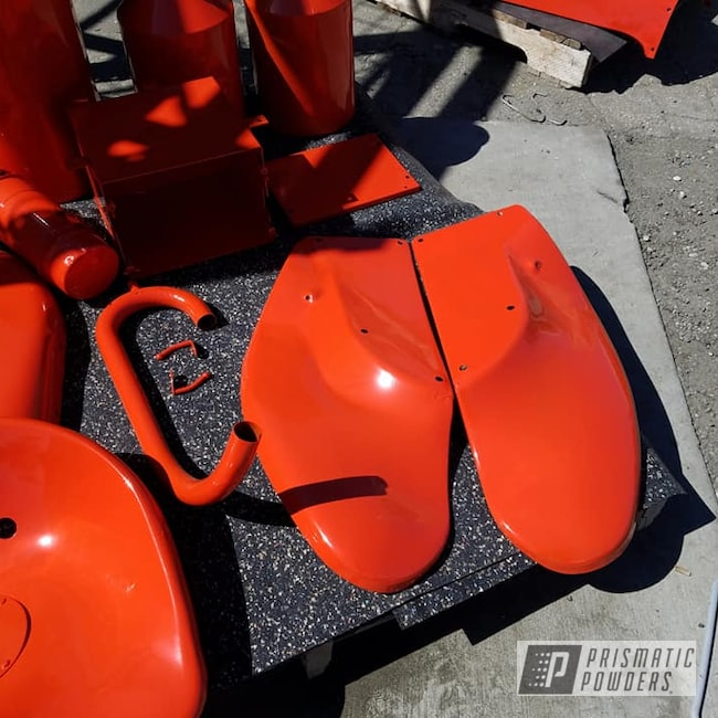 Powder Coating: Tractor Parts,Allis Chalmers,Cabot Orange PSS-1429,Farm Tractor