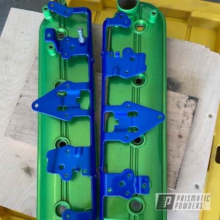 Powder Coating: Automotive,Clear Vision PPS-2974,Valve Covers,Illusion Green Ice PMB-7025,Car Parts,Chevy,Illusion Smurf PMB-6909