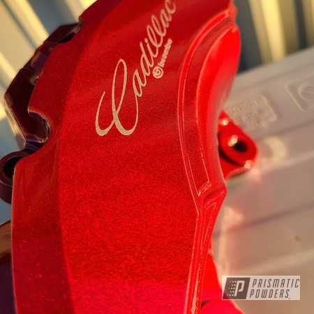 Powder Coating: Automotive,Calipers,LOLLYPOP RED UPS-1506,Brembo,Cadillac CTS,Alien Silver PMS-2569,Brembo Brakes,Cadillac