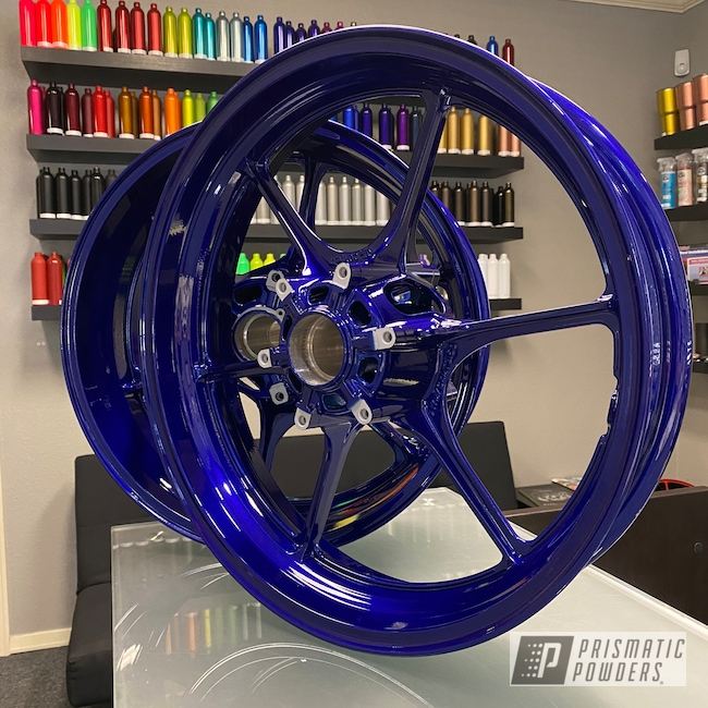 Powder Coating: Wheels,Automotive,Clear Vision PPS-2974,Motorcycle Wheels,Motorcycles,Illusion Royal PMS-6925